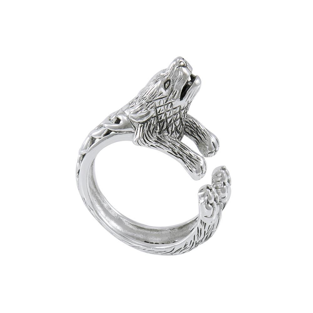 Sterling Silver Howling Wolf Ring TRI1637