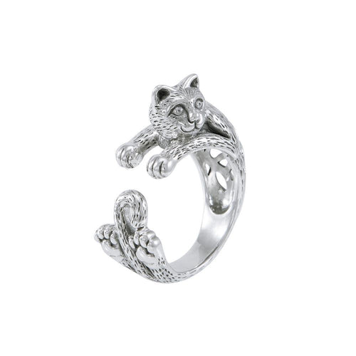Sterling Silver Celtic Cat Ring TRI1639 peterstone.