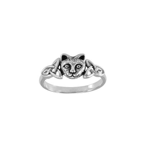 Sterling Silver Celtic Cat Ring TRI1690 peterstone.