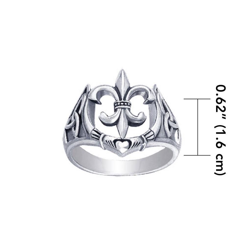 A powerful combination of Celtic elements ~ Sterling Silver Jewelry Ring in Fleur-de-Lis and Claddagh