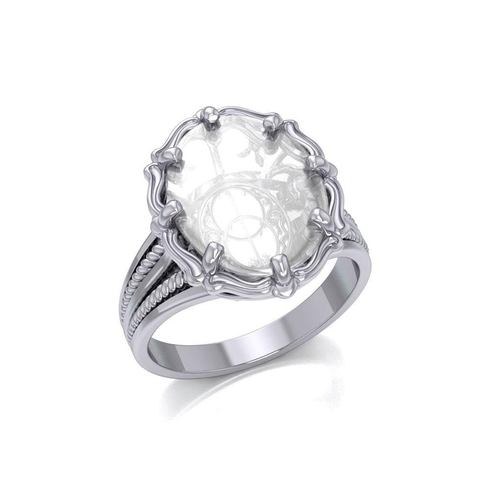 Chalice Well Sterling Silver Ring with Natural Clear Quartz TRI1720 peterstone.
