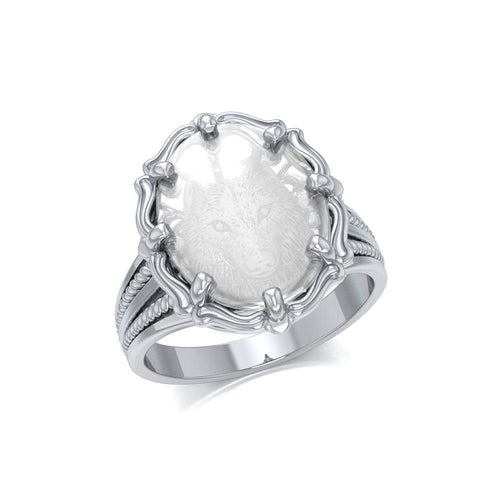 Wolf Sterling Silver Ring with Natural Clear Quartz TRI1725 peterstone.