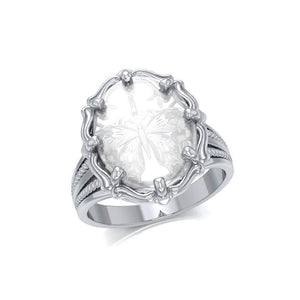 Butterfly Sterling Silver Ring with Natural Clear Quartz TRI1726 peterstone.