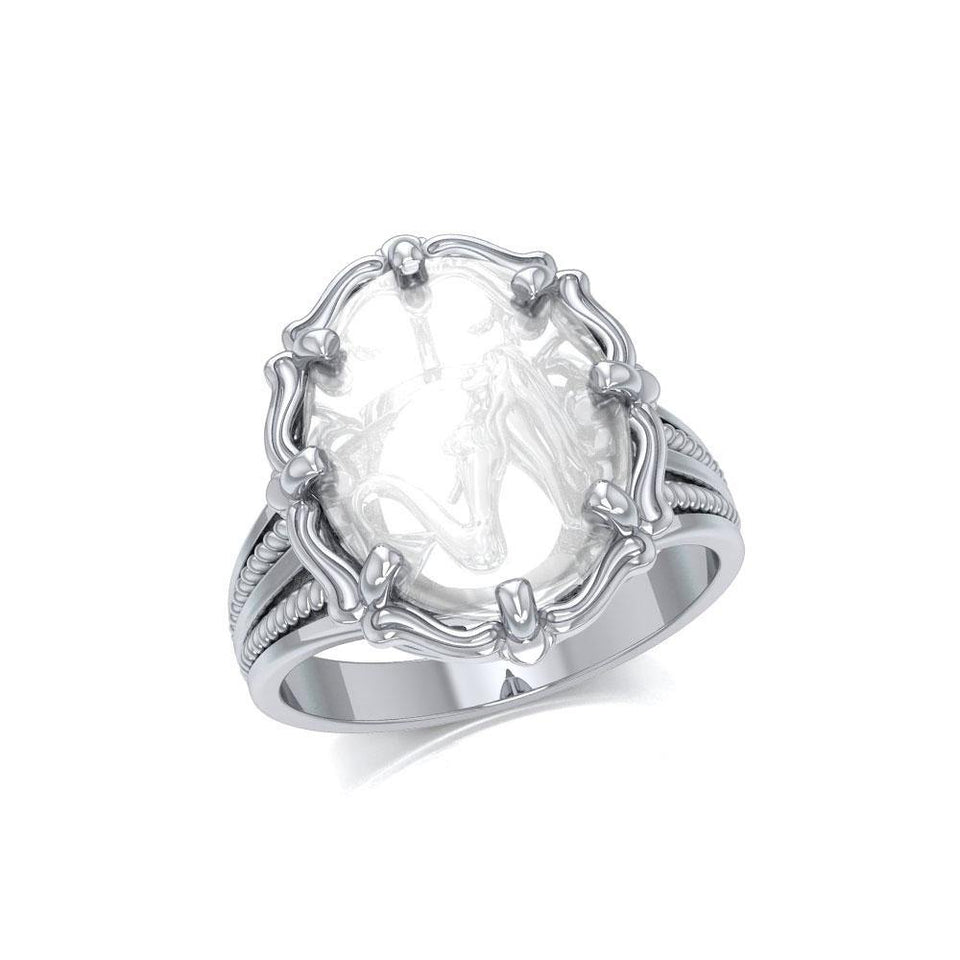 Mermaid Sterling Silver Ring with Natural Clear Quartz TRI1729 peterstone.
