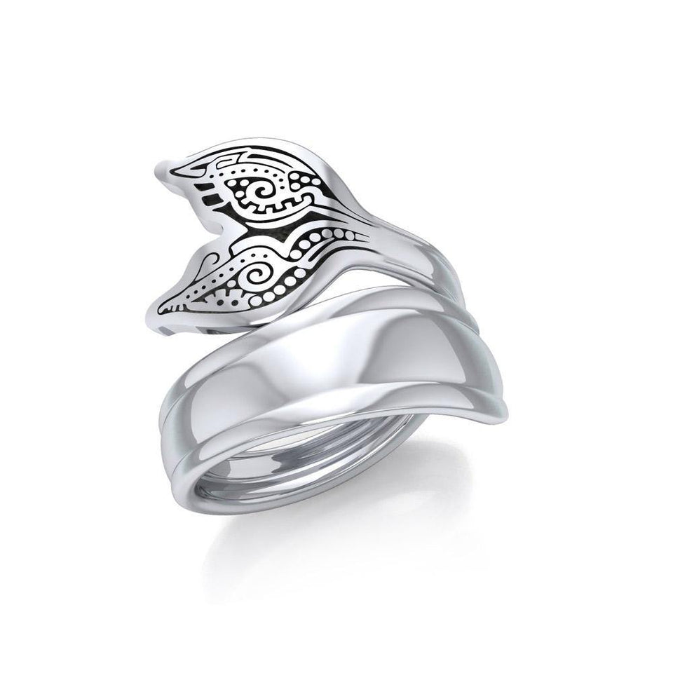 Aboriginal Whale Tail  Sterling Silver Spoon Ring TRI1734 peterstone.