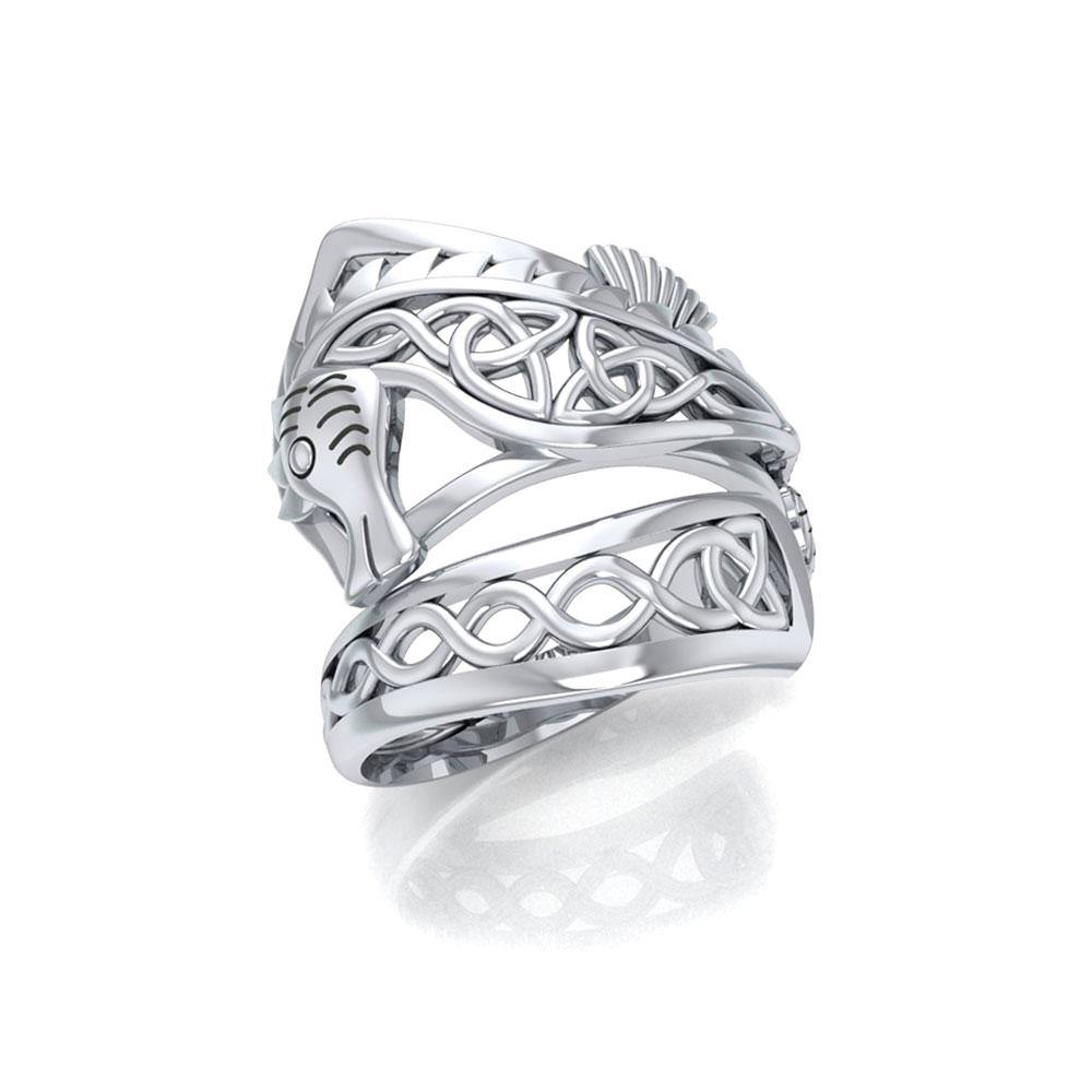 Celtic Knots Silver Seahorse Spoon Ring TRI1737