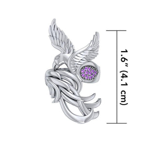 Alighting breakthrough of the Mythical Phoenix ~ Sterling Silver Ring with Gemstone Accents TRI1740