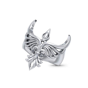 Phoenix with Fleur De Lis Sterling Silver Ring TRI1742 peterstone.