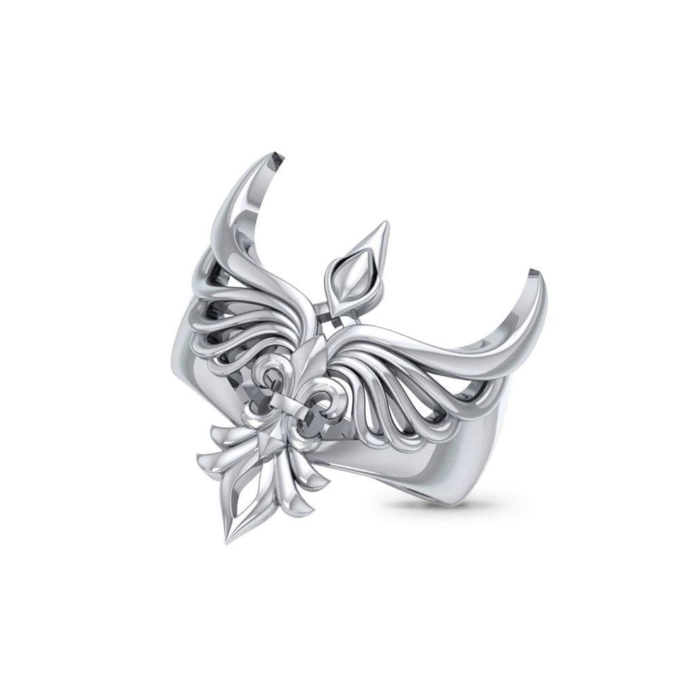 Phoenix with Fleur De Lis Sterling Silver Ring TRI1742