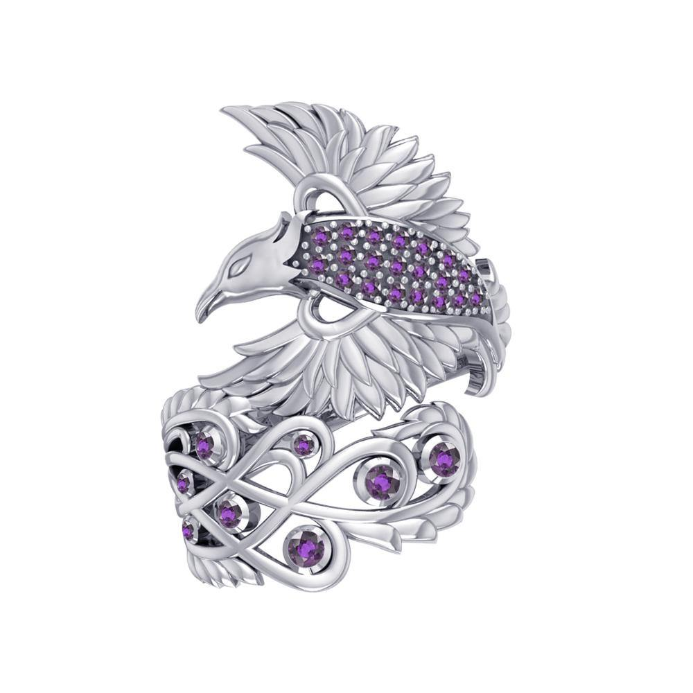 Honor The Flying Phoenix ~ Sterling Silver Jewelry Ring with Gemstone TRI1744
