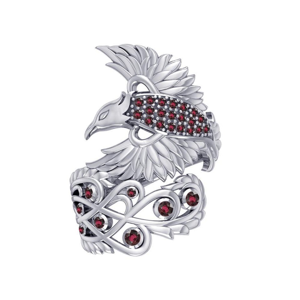 Honor The Flying Phoenix ~ Sterling Silver Jewelry Ring with Gemstone TRI1744 peterstone.