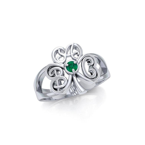 ABC Monogramming Shamrock Clover Silver Gemstone Earrings TRI1750 peterstone.