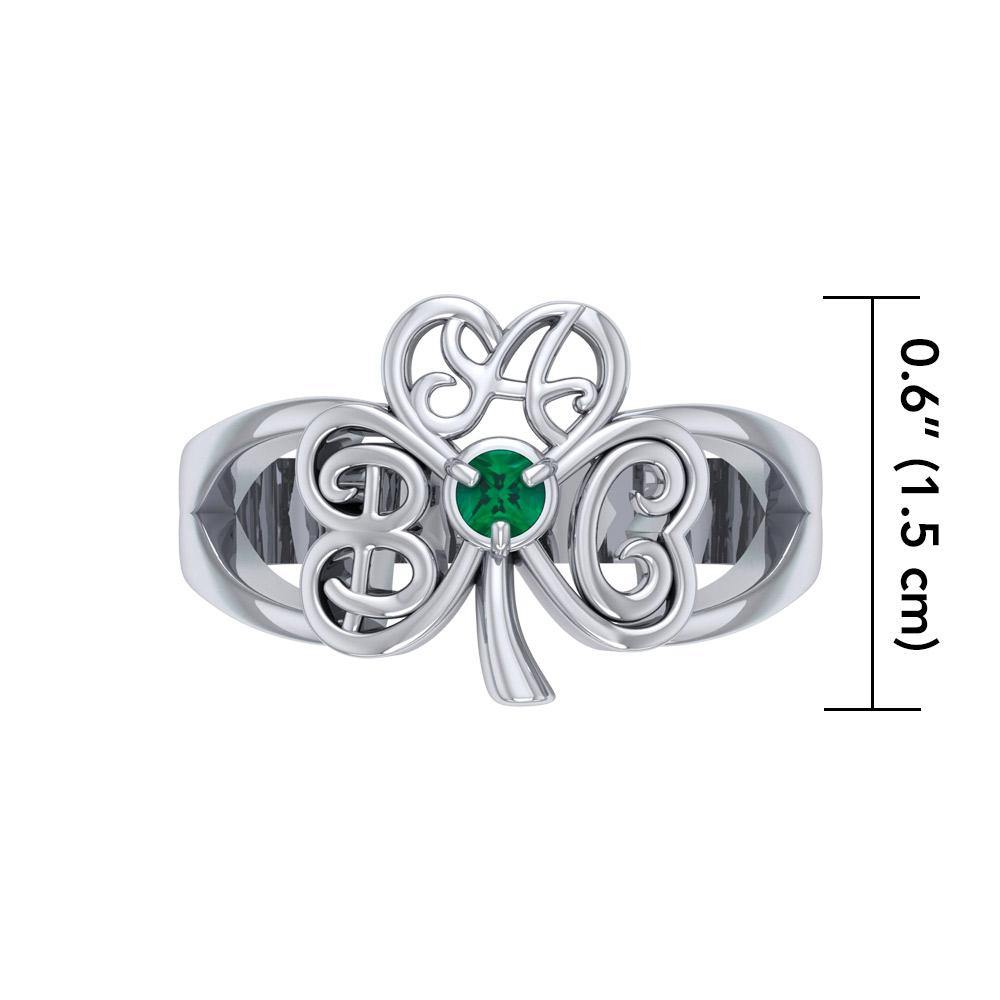 ABC Monogramming Shamrock Clover Silver Gemstone Earrings