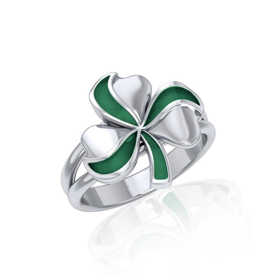 Lucky Shamrock Clover Silver Ring with Enamel TRI1773 peterstone.