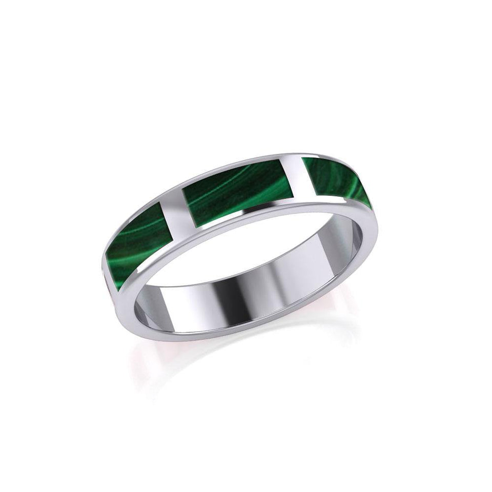 Modern Rectangle Band Inlaid Silver Ring TRI367