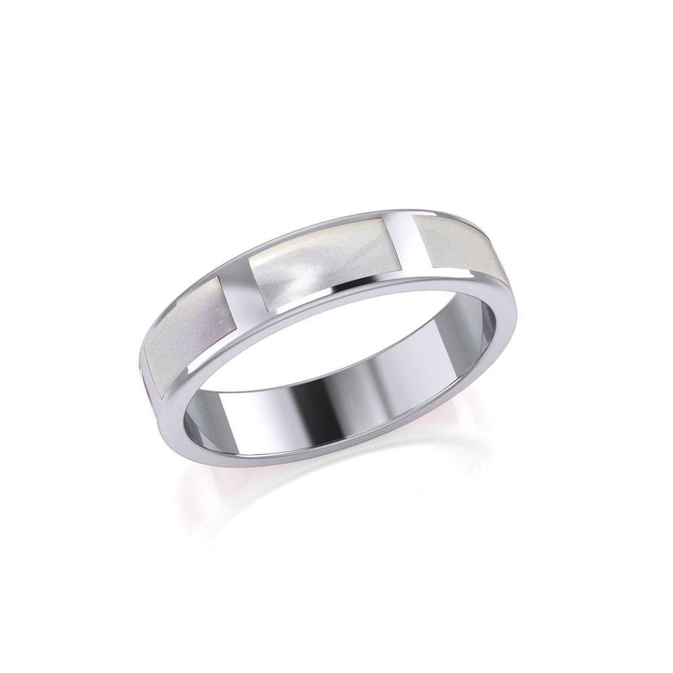 Modern Rectangle Band Inlaid Silver Ring TRI367 peterstone.