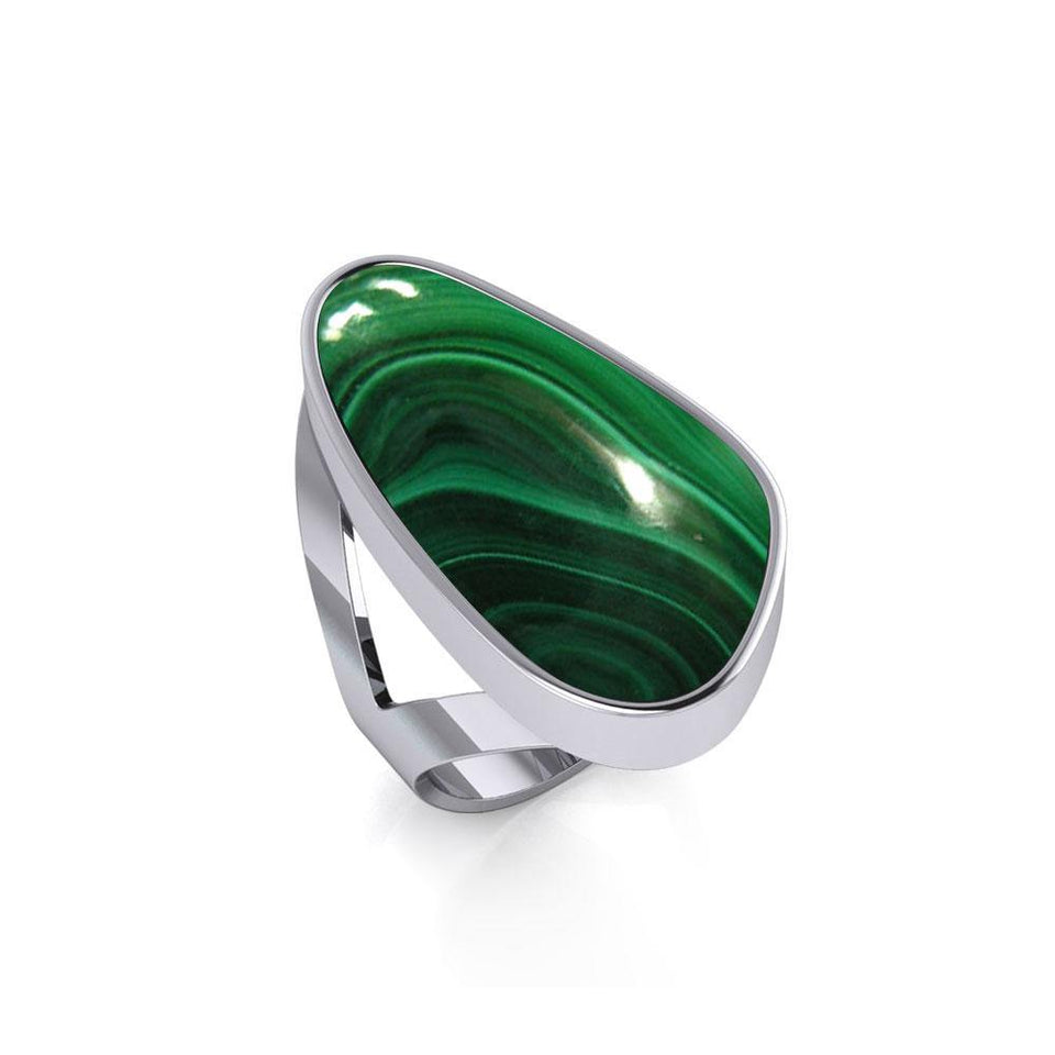 Modern Abstract Inlaid Silver Ring TRI512 peterstone.