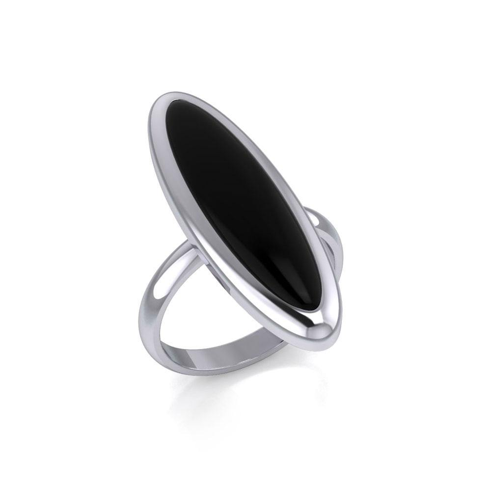 Modern Long Oval Inlaid Silver Ring