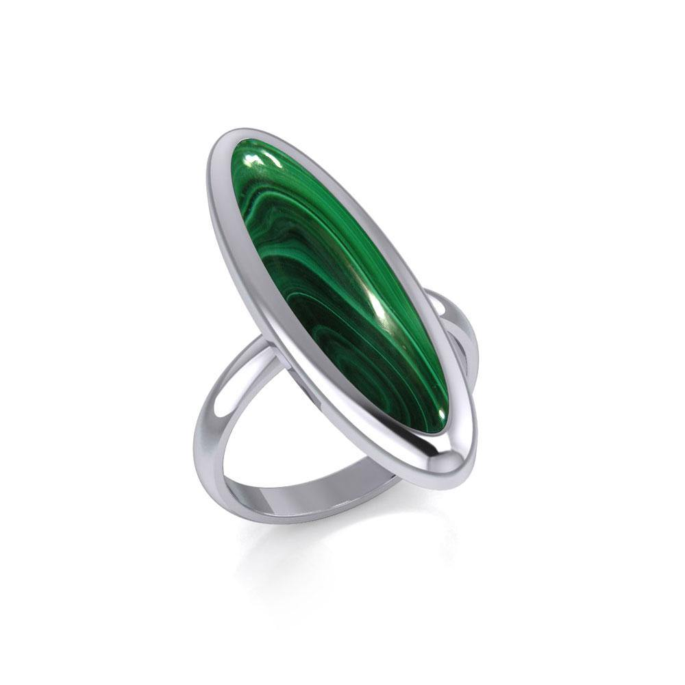 Modern Long Oval Inlaid Silver Ring TRI513