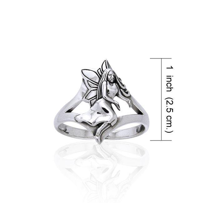 Gesturing fairy in Wiccan world ~ Sterling Silver Jewelry Ring TRI520