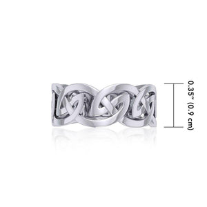 Silver Celtic Knot Hollow Band Ring TRI531