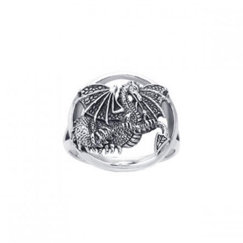 Winged Dragon Silver Ring TRI539 peterstone.