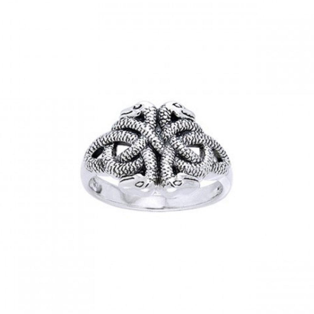 Celtic Knot Snakes Ring TRI565
