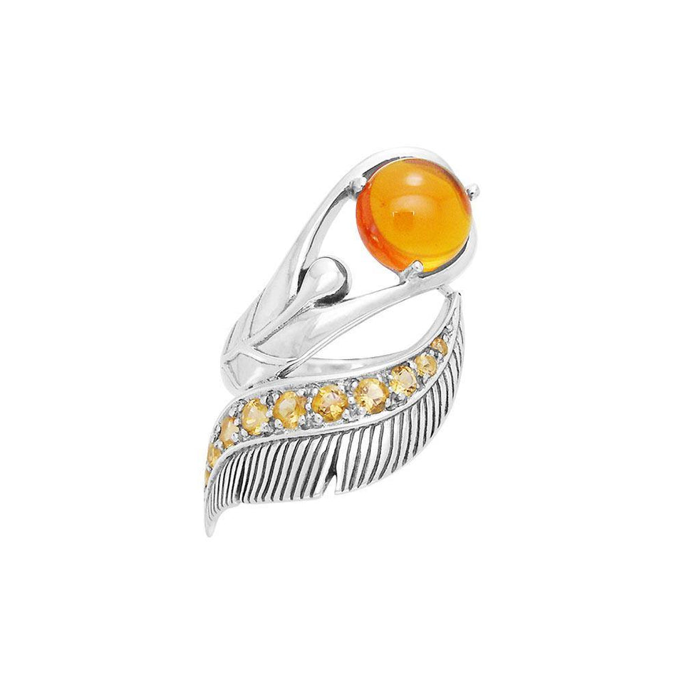 Graceful and free ~ Dali-inspired fine Sterling Silver Ring with Citrine gemstones TRI580 peterstone.