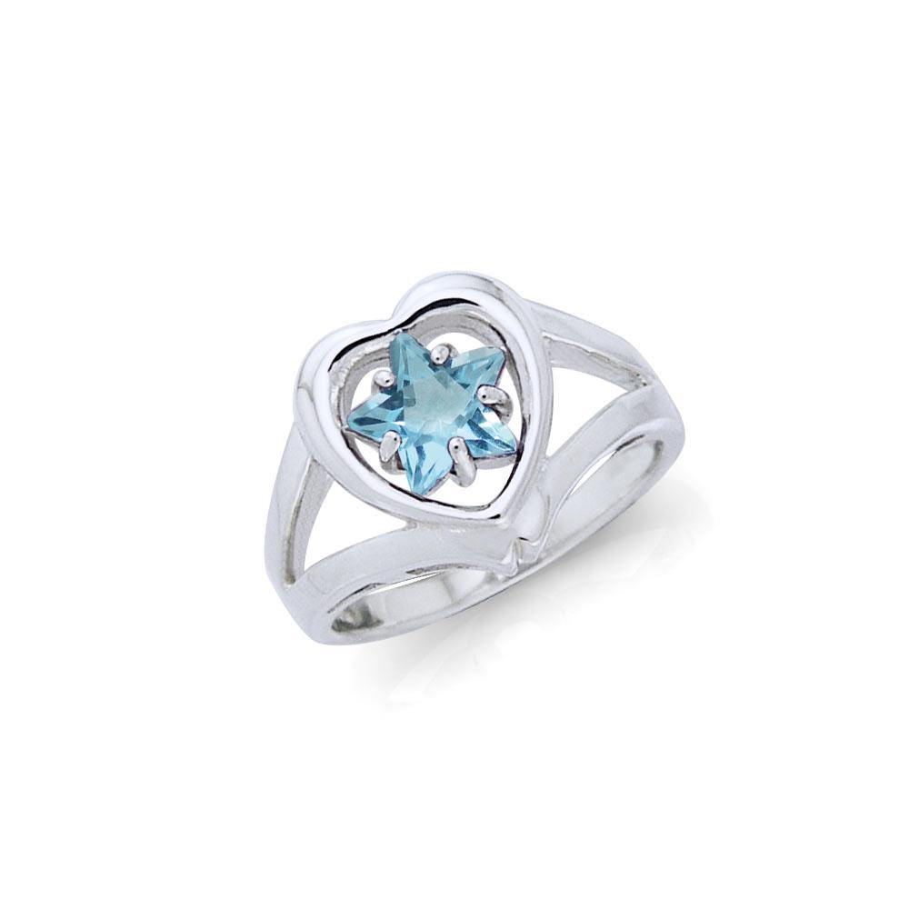 Designer Elegant Cubic Zirconia Star and Heart Ring TRI728