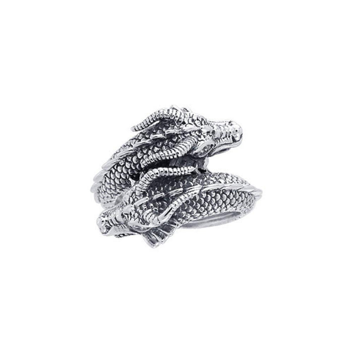 Merlin's Twin Dragon Silver Ring TRI760