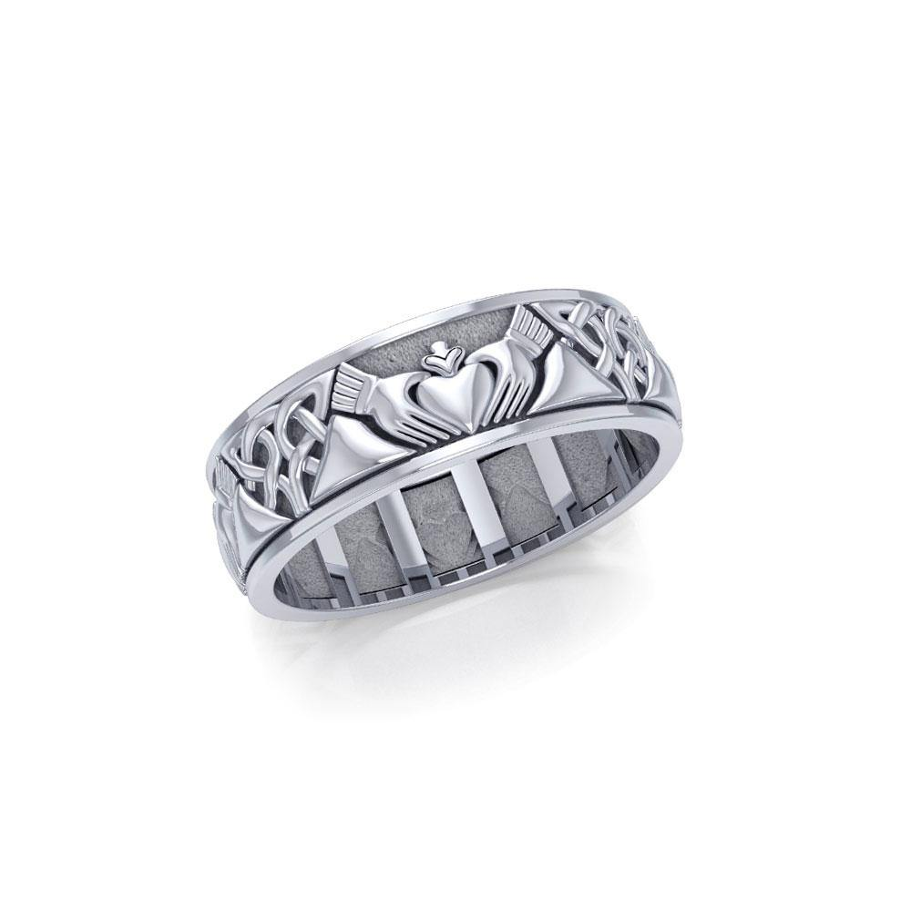 Celtic Claddagh Silver Spinner Ring TRI768