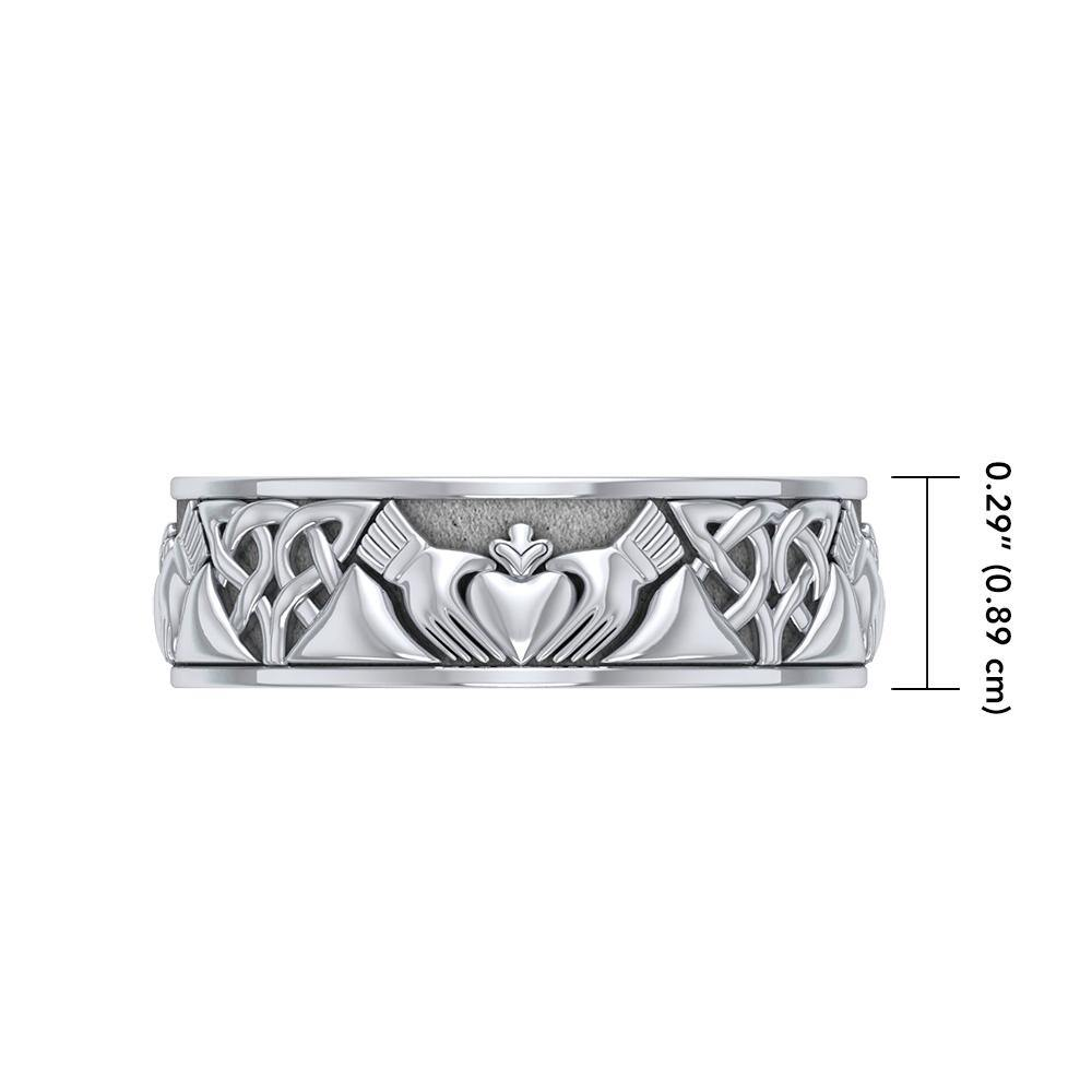 Celtic Claddagh Silver Spinner Ring