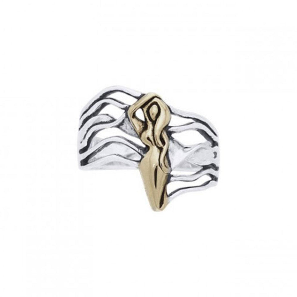 Dancing Goddess Gold Accent Silver Ring TRV3682 peterstone.