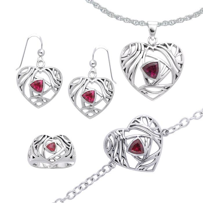 All you need is love ~ Sterling Silver Heart Jewelry Set with a Shimmering Gemstone