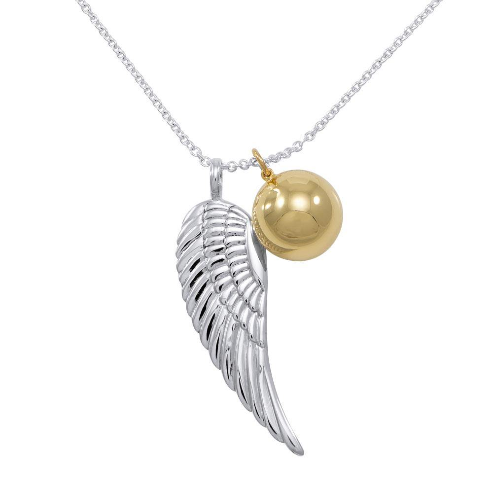 Angels Wing Chime Ball Necklace TSE711P