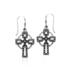 Celtic Cross with Marcasite Sterling Silver Earrings VE060 peterstone.