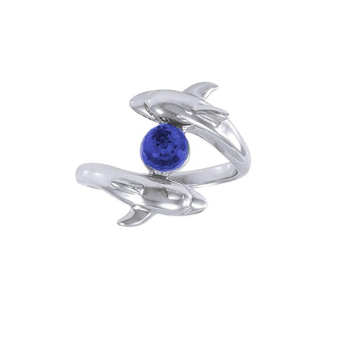 Dolphin and Stone Silver Ring