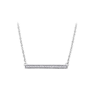 10K White Gold Sideways Bar Diamond Necklace