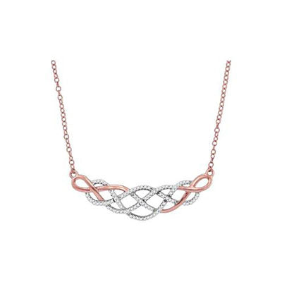 10K Rose Gold Woven Diamond Necklace