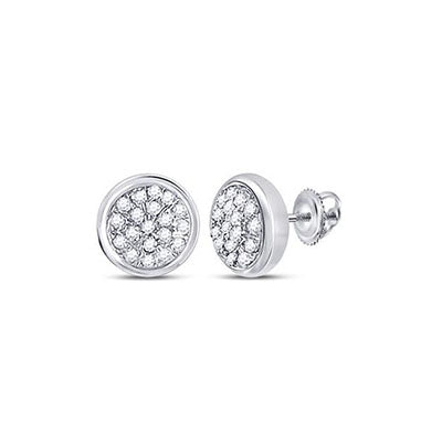 10K White Gold Circle Cluster Diamond Studs