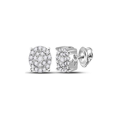 10K White Gold Round Clustered-Halo Diamond Studs