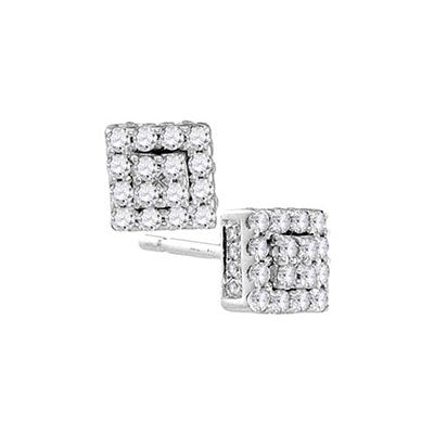 10K White Gold Cushion Halo Diamond Studs