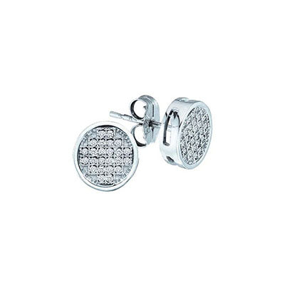 10K White Gold Round Diamond Filled Studs