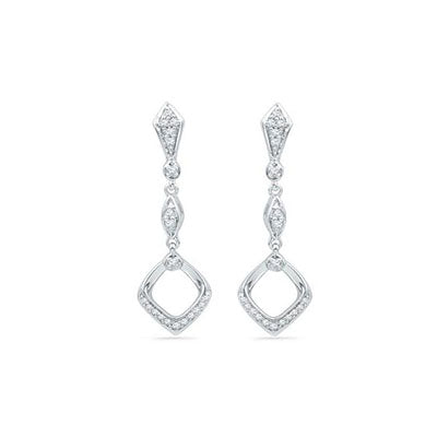 10K White Gold Dangle Earrings with Diamond Accents