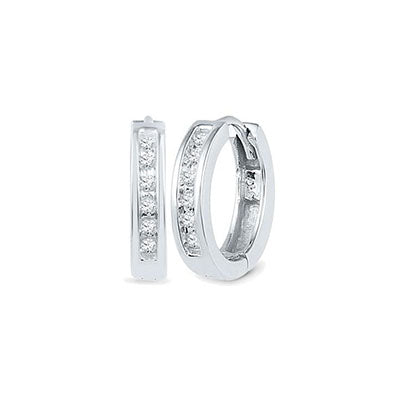 10K White Gold Small Hoop Earrings with Diamond Accents