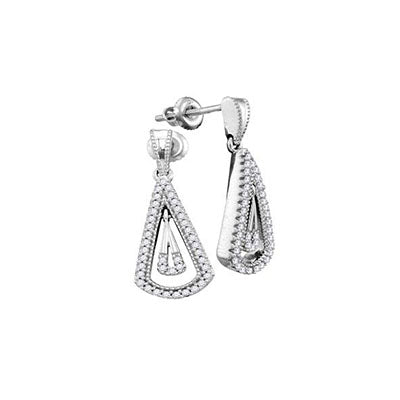 10K White Gold Drop-Down Dangling Diamond Studs