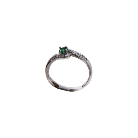 18K White Gold Bypass Emerald Ring with Diamond Accents