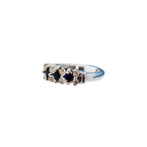 10K White Gold Sapphire Ring with Diamonds
