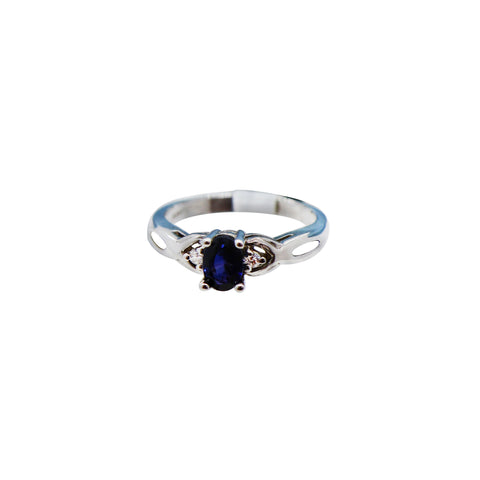 14k White Gold Sapphire Ring with Diamonds