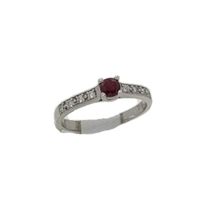 14K White Gold 0.28cte Round Ruby Ring w/8 diamonds on sides 0.12 ctw